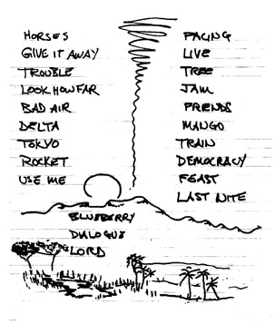 Scan of setlist from 4 March 2000