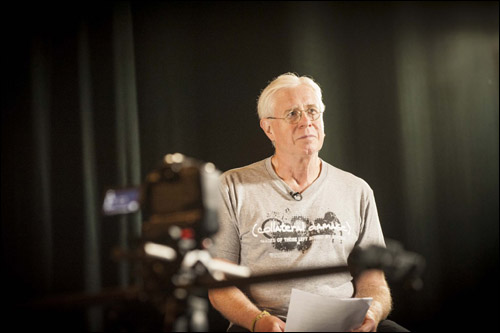 Bruce Cockburn working on a video for the Collateral Damage Project