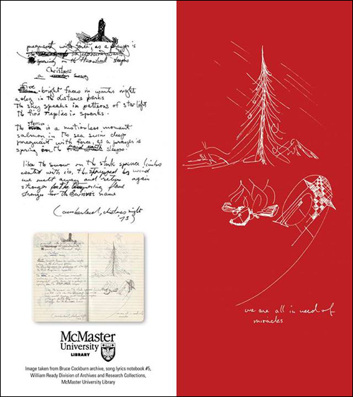 Christmas card from McMaster University using Bruce Cockburn journal archive material